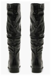 Womens Ruched Knee High Boots - black - 3, Black