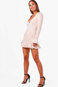 Womens Petite Plunge Neck Drop Hem Lace Skater Dress - Beige - 4, Beige