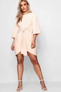 Womens Plus Kimono Sleeve Tie Waist Wrap Dress - Pink - 16, Pink