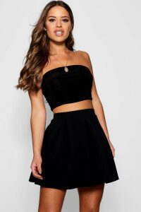 Womens Petite Box Pleat Skater Skirt - Black - 4, Black