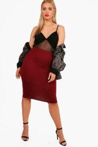 Womens Plus Midi Tube Skirt - red - 18, Red