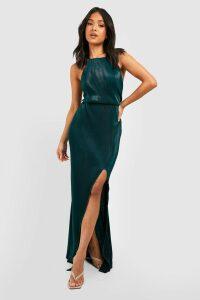 Womens Petite Pleated Thigh Split Maxi Dress - Green - 14, Green