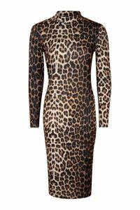 Womens Petite High Neck Long Sleeve Leopard Midi Dress - brown - 4, Brown