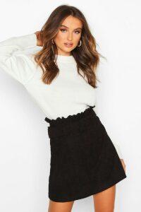 Womens Cord Belted Mini Skirt - black - 16, Black