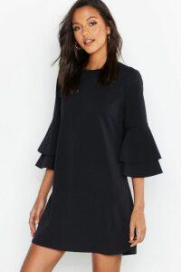 Womens Volume Sleeve Stretch Shift Dress - Black - 12, Black