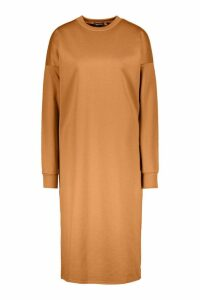 Womens Split Midi Sweat Dress - beige - 16, Beige