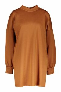 Womens Funnel Neck Oversized Sweat Dress - beige - 12, Beige