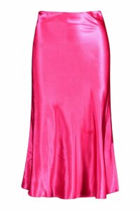 Womens Satin Bias Cut Slip Midi Skirt - Pink - 16, Pink