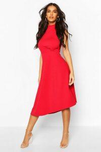 Womens High Neck Asymmetric Midi Skater Dress - Red - 16, Red