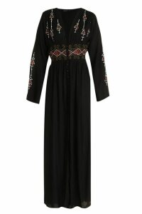 Womens Petite Embroidered Button Front Maxi Dress - Black - 16, Black