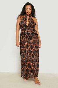 Womens Plus Gemma Collins Chain Print Maxi Beach Dress - Black - 18, Black
