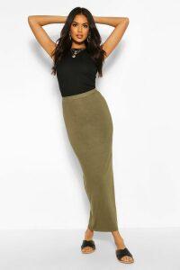Womens Basic Contrast Waist Jersey Maxi Skirt - Green - 12, Green