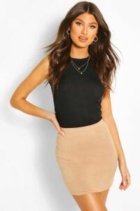 Womens Basic Jersey Mini Skirt - Beige - 12, Beige