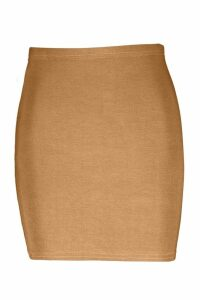 Womens Basic Jersey Mini Skirt - beige - 14, Beige