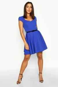 Womens Sweetheart Neck Skater Dress - Blue - 18, Blue