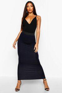 Womens Basic Contrast Waist Jersey Maxi Skirt - navy - 6, Navy