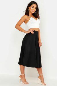 Womens Basic Plain Full Circle Midi Skirt - Black - 16, Black