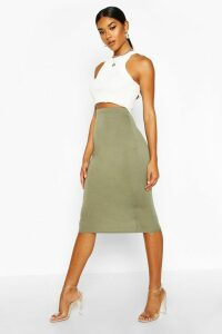 Womens Basic Jersey Midi Skirt - green - 14, Green