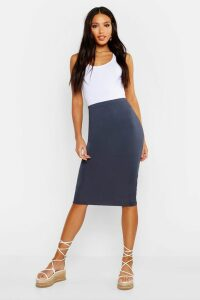 Womens Basic Jersey Midi Skirt - blue - 6, Blue