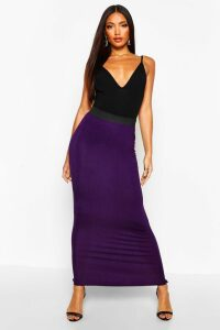 Womens Basic Contrast Waist Jersey Maxi Skirt - Purple - 6, Purple
