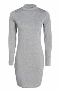 Womens High Neck Bodycon Dress - grey - 14, Grey