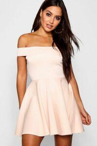 Womens Off The Shoulder Skater Dress - Pink - 10, Pink
