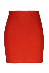 Womens Basic Jersey Mini Skirt - orange - 12, Orange