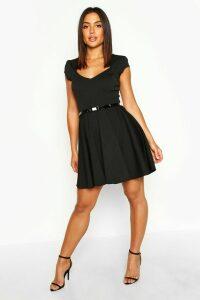 Womens Sweetheart Neck Skater Dress - Black - 18, Black