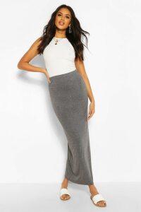 Womens Basic Contrast Waist Jersey Maxi Skirt - Grey - 14, Grey
