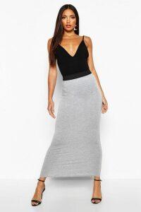 Womens Basic Contrast Waist Jersey Maxi Skirt - Grey - 16, Grey