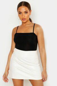 Womens Leather Look A Line Mini Skirt - Cream - 14, Cream