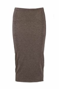 Womens Basic Midi Jersey Tube Skirt - Grey - 10, Grey