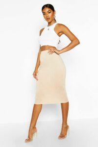 Womens Basic Jersey Midi Skirt - beige - 14, Beige