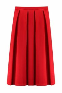 Womens Basic Box Pleat Midi Skirt - Red - 16, Red