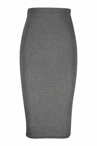 Womens Basic Jersey Midi Skirt - Grey - 8, Grey
