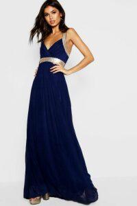 Womens Boutique Sequin Panel Maxi Bridesmaid Dress - Navy - 16, Navy
