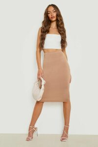 Womens Basic Jersey Midi Skirt - Beige - 10, Beige