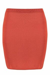 Womens Basic Jersey Mini Skirt - orange - 14, Orange