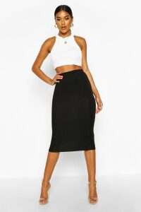 Womens Basic Jersey Midi Skirt - black - 8, Black