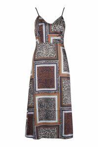 Womens Mixed Leopard Print Slip Dress - Brown - 14, Brown