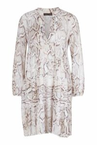 Womens Snake Skin Smock Dress - white - 16, White