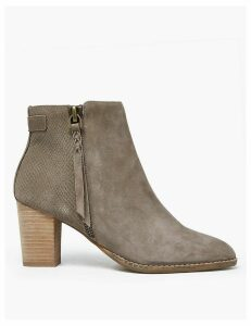 M&S Collection Suede Snakeskin Print Block Heel Ankle Boots