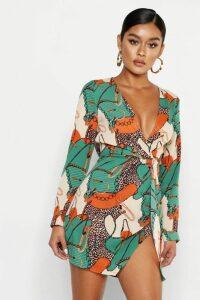 Womens Satin Chain Print Twist Shift Dress - green - 8, Green
