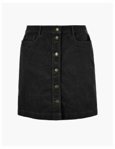 M&S Collection Corduroy Button Front A-Line Mini Skirt