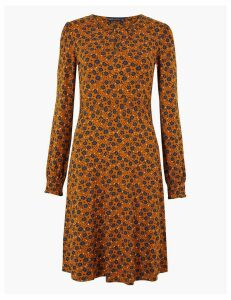 M&S Collection Floral Jersey Fit & Flare Mini Dress