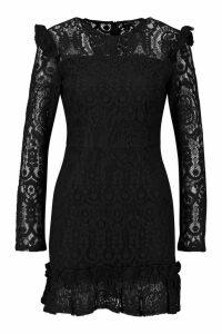 Womens Lace Frill Detail Mini Dress - black - 8, Black