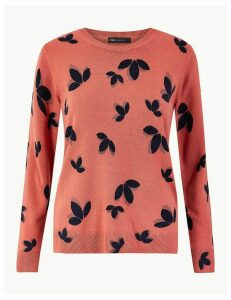M&S Collection Cashmilon Leaf Print Round Neck Jumper