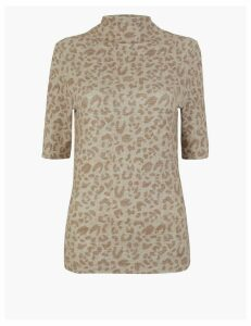 M&S Collection Leopard Print Cosy Fitted Top
