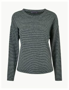 M&S Collection Striped Cosy Crew Neck Sweatshirt