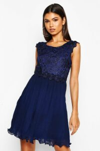 Womens Boutique Corded Lace Pleated Skater Dress - Navy - 16, Navy